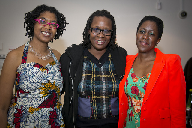 Mickalene Thomas (center) with executive director Kemi Ilesanmi and Create Change alumna Nontsikelelo Mutiti
