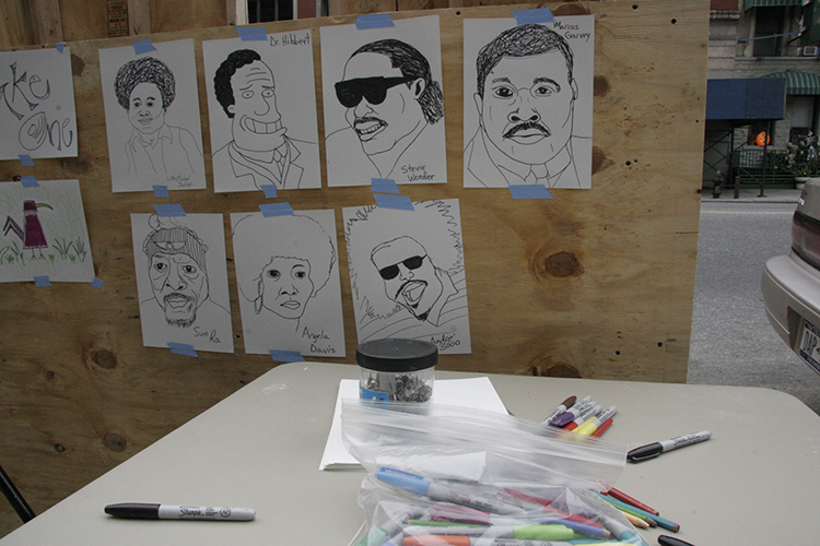 Close-up of sketches from Rudy Shepherd's Drawing Cart (2006)