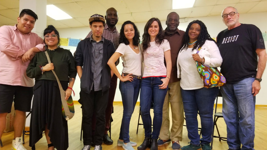 A photo of Bridget, Josh Carrera, Cynthia and story-circle narrators at one of the Bushwick Love Letter events