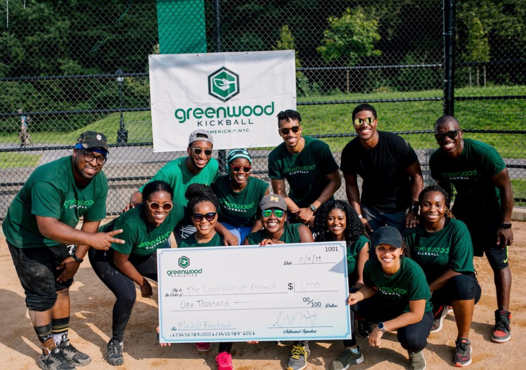 Team Black @ Facebook, the winners of the inaugural season of Greenwood Athletics, playing for The Laundromat Project. Image courtesy Greenwood Athletics.
