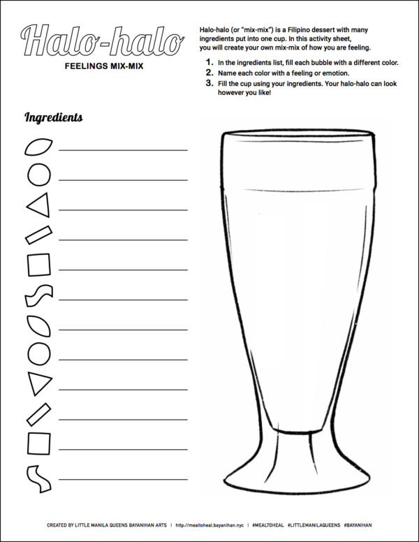 Worksheets created by Xenia and Jaclyn featuring Filipino foods are a part of each delivered meal.